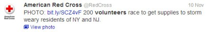 Red Cross Twitter Post About Volunteering
