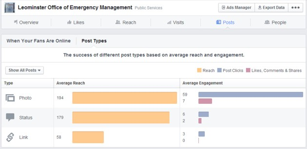 Facebook Insights Post Types