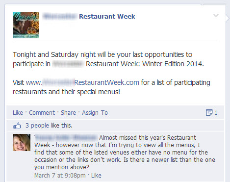 Restaurant Week Facebook Post