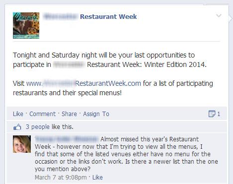 Restaurant Week Facebook Post