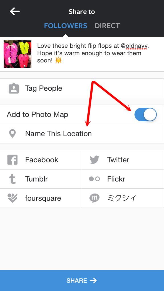 Instagram Select Add to Photo Map
