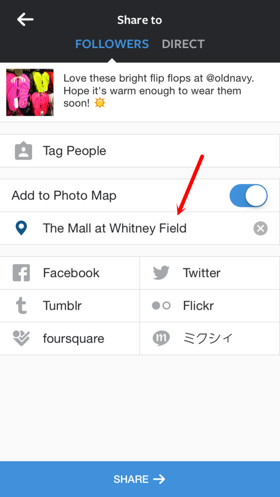 Instagram Share Image with Location Tag