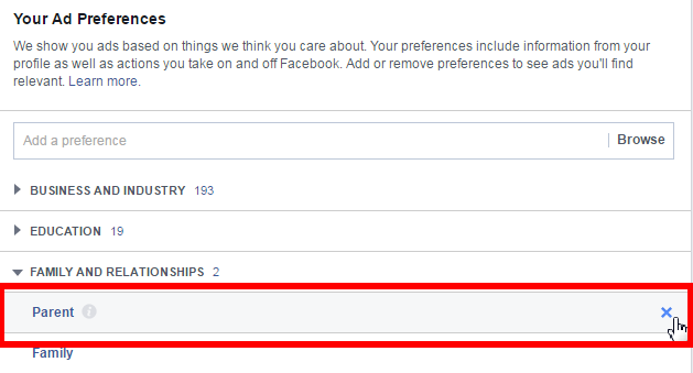 Facebook delete ad preferences