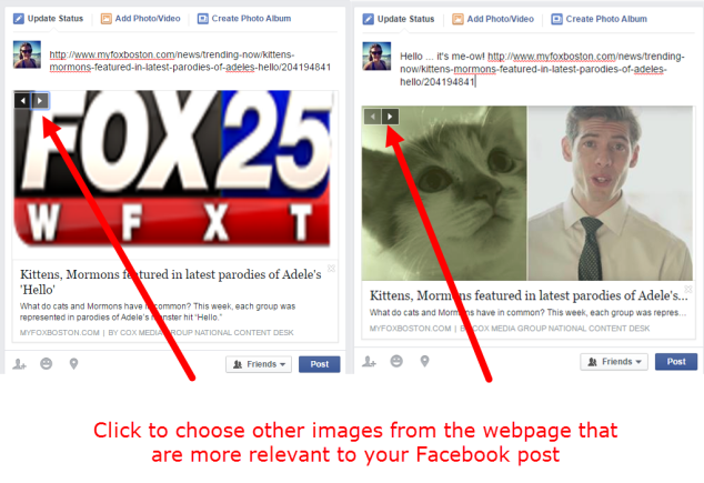 Facebook link and image options