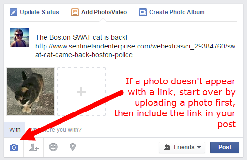 Facebook photo doesn't appear - insert photo then link in your post