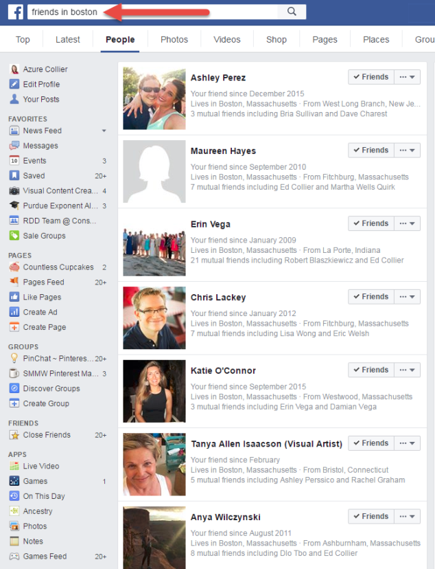 Facebook Graph Search Friends in Boston